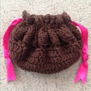 Brown Crocheted Pink Drawstring Handcrafted Bag